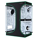 MAXSISUN 2-in-1 3x2 Grow Tent 600D Mylar Hydroponic Indoor Plants Growing Tent with Observation Window and Floor Tray 36x24x54 Grow Cabinet Multi-Chamber Space from Seeding to Harvests with One Tent…