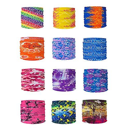 Beaupretty Magische Stirnbänder Sport Kopfbedeckung Elastische Nahtlose Bandana Schal UV Fahrrad Halstuch für Männer Und Frauen Packung mit 12 (Zufällige Farbe)