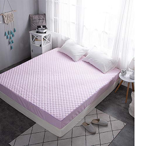 GTWOZNB Pure Cotton Fitted Sheet Double Breathable Bed Sheet Pure color bed sheet breathable-pink_135*200cm