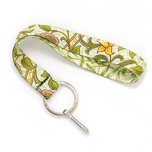 Buttonsmith Morris Daffodils Wristlet Schlüsselanhänger Lanyard Short Length mit flachem Schlüsselring und Clip Hergestellt in den USA