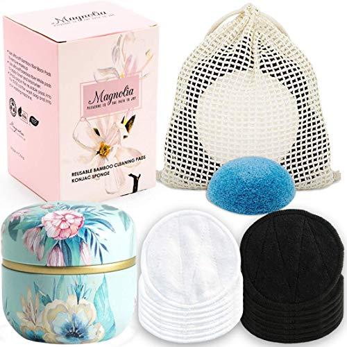 Magnolia Reusable Makeup Remover Pads Gift Set |12 Pack Bamboo Cotton Face...