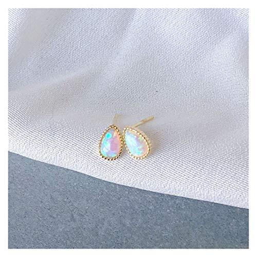ZCPCS Sterling Silver Piedra Natural Opal Stud Pendientes Mujeres Exquisito Temperamento Boda 14k Joyería de Oro Regalo de la Novia (Gem Color : Stud Earring)