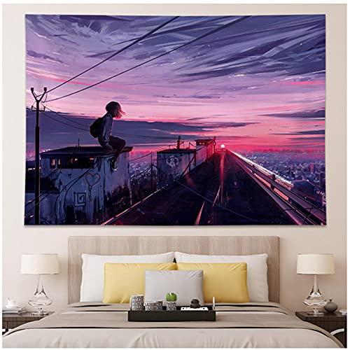 DXYM Kawaii decoración del hogar tapiz colgante de pared Anime chica tapiz pared dormitorio fondo decoración linda moda señora tapices59 * 78 pulgadas