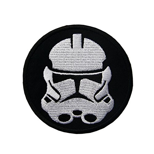 CasStar Aufnaeher Aufbuegler Patches Applikation Buegelbild Round Black & White Stormtrooper Star Wars