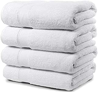 Maura 4 Piece Bath Towel Set. 2017 Premium Quality Turkish Towels. Super Soft, Plush and Highly Absorbent. Set Includes 4 Pieces of Bath Towels (Bath Towel - Set of 4, White)