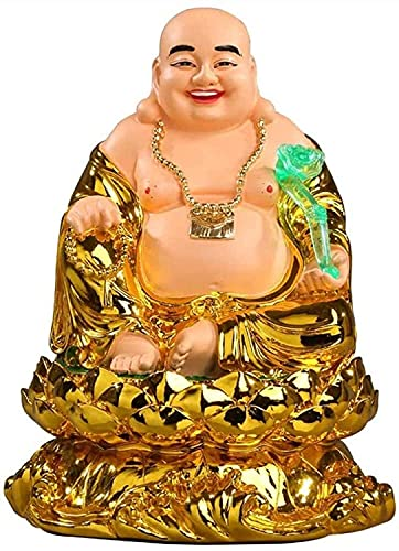 Laughing Buddha Statue Chinese Feng Shui Resin Golden God of Wealth with RU Yi Figurines Sculpture Decoration Feng Shui Wealth Luck Gift 427