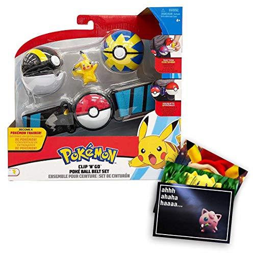 Lively Moments Ceinture Pokémon pour enfants avec 2 Pokémon et figurines Pikachu - Ceinture pour enfants pour Pokeball, jouet, ceinture clip n Go + carte de vœux exclusive