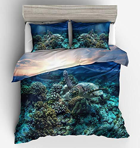 NKJSANFOI Ocean Turtle Bed Quilt Cover Clothes Pillowcase 3D Conch Adult Boy's Bedding Duvet Cover Set Twin Full Queen King Size