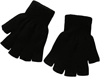 Boys' and Girls' Solid Knitted Half Finger Mittens Typing Gloves, Small