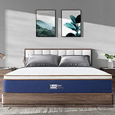 BedStory Queen Mattress - Latex Memory Foam & Strong Pocket Spring Mattress - 10In Medium Firm Innerspring Bed Mattress - CertiPUR-US Certified - Pressure Relieving & Breathable