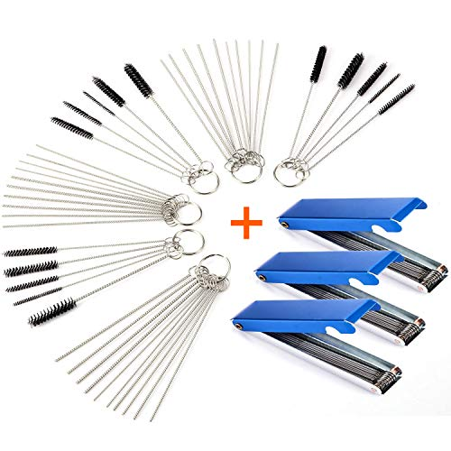 Carburetors Carbon Dirt Jet Remove Cleaner, 39 Cleaning Wires Set + 30 Cleaning Needles + 15 Nylon Brushes Tool Kit for Welder Carb Chainsaw Spray Guns Torch Tips Firing Hole Stove Burner Holes (3)