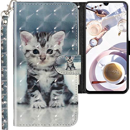 CLM-Tech Cover Compatibile con Samsung Galaxy A70, Sintetica Pelle Custodia, Portafoglio con Funzione Supporto e Slots, Piccolo Gatto