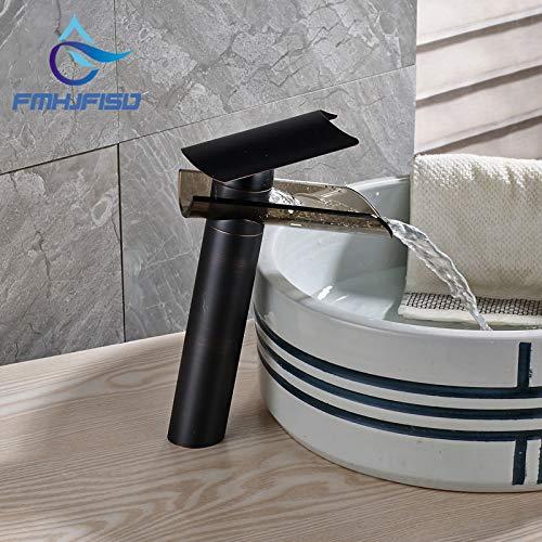 RSZHHL Wasserhahn Förderung Beste Qualität Öl Eingerieben Bronze Deck Montiert Becken Wasserhahn mit Glasauslauf