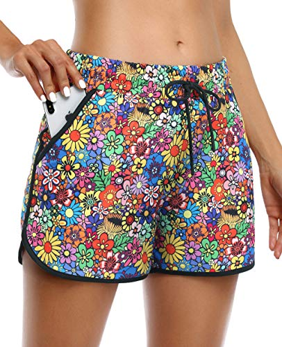 KORALHY Womens Athletic Shorts with Pockets,Travel Short Sweating-Wicking Drawstring Light Weight Double-Layered Quick Dry Stretchy Cozy Cooling Small