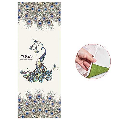 Yogamatte, 183 x 65 cm, bedruckte Yogamatte, Handtuch, Mikrofaser, tragbar, Schweiß, rutschfest, für Pilates, Fitness, Abnehmen, Grün