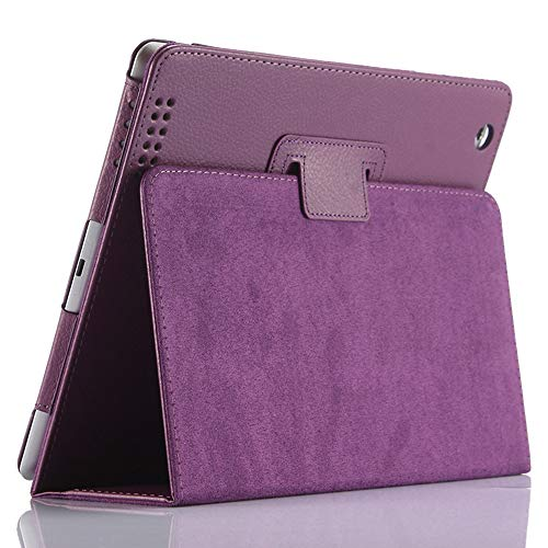 iPad 2 3 4 Case,FANSONG Bi-fold Series Litchi Stria Ultra Thin Magnetic PU Leather Smart Protective Cover Case [Flip Stand,Sleep Function] for Apple iPad 2/3/4 (Purple)