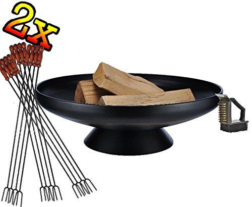 513CMFPn3sL - SET 2x Feuerschale mit Zubehör Bürste Reiniger Besteck Grillbesteck Spieß lt Angebot-Beschreibung GRILL (je nach Wahl mit 4 - 8 - 12x Grillspiessen) mit Zubehör grillzubehör mit Grillzubehör: je 12x Grillspiesse und Reinigungsbürste