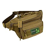 Huntvp Military Hip Fanny Pack Tactical Waist Bag Packs Waterproof Hip Belt Bag Pouch for Hiking Climbing Outdoor Bumbag Coyote Brown