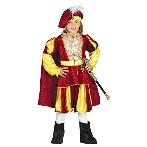 Costume da re in vellutino rosso e giallo per bambino 7-9 anni (125-135 cm)