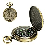 Multifunctional Zinc Alloy Classic Vintage Pocket Compass Accurate Waterproof Compass for Hiking, Camping, Motoring, Boating, Backpacking, Gift and Collection