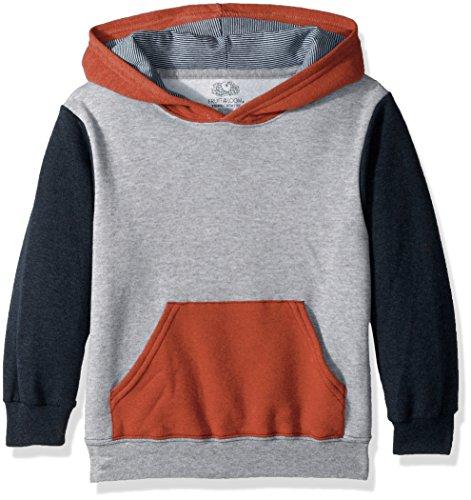 Fruit of the Loom Boys' Big Fleece Hoodie Sweatshirt, Athletic T.Blue Mason Orange Heather/Smoke Blue Stripe, Large