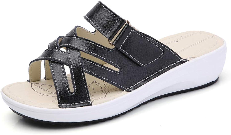 Mobnau Fashion Leather Summer Slide Sandles Womens Sandals