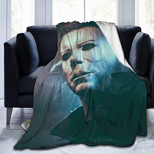 Edredones Manta Horror Character Halloween M-ichael M-yers Manta Suave Cálido Ultra Suave Ligero Felpa Cama Sofá Sala de Estar para Todas Las Estaciones L (80x60in)