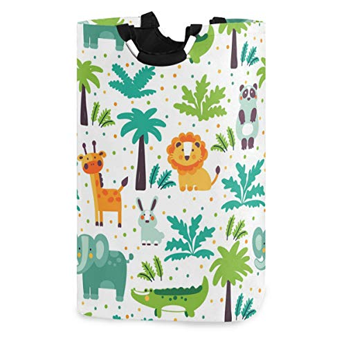 Mnsruu wunderschöner Wäschekorb mit Einhorn/Flamingo/Palmenblättern, großer faltbarer Aufbewahrungskorb für Kinder, Wäschesack für Zuhause, Schlafzimmer, Kinderzimmer