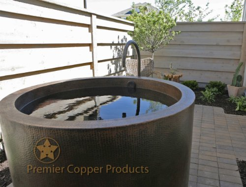 Premier Copper Products BTR45DB Japanese Style Soaking Hand Hammered Copper Bath Tub, Oil Rubbed Bronze