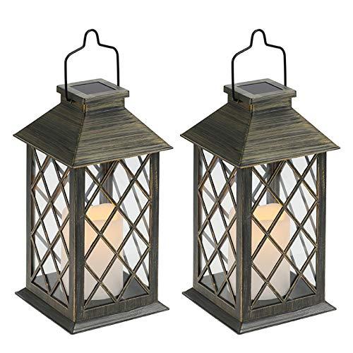 Tomshine - Lanterna solare con effetto candele, lampada solare per esterni, decorazione da giardino, effetto candela [Classe energetica A+] (confezione da 2)