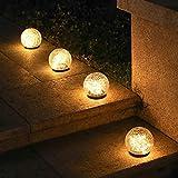 HehiFRlark Bola solar, bola de vidrio impermeable al aire libre, luz de césped, luz de carretera, luz de jardín, lámpara solar decorativa de Navidad, 10 x 9 cm