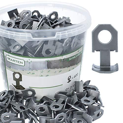 MARTEN™ Ersatzclips für Nivelliersystem | Clips Nivelierset Fliesen Nivelliersystem - Fliesendicke 7-15 mm | Premium-Set mit 400 Stück in Eimer | Fliesen Verlegehilfe