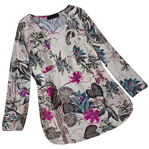 JOFOW blusa feminina de algodão de linho 3/4 manga comprida estampa floral gola redonda blusa solta plus size P-3GG, Cream -2, 4X-Large