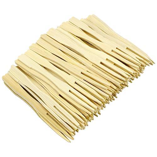 Hysagtek - Tenedores desechables de bambú para fiestas, 2 puntas, horquillas para cóctel, para el hogar y la fiesta, 8,8cm