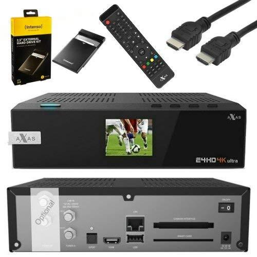 AXAS E4HD 4K Ultra HD E4HD 4K Ultra HD 1x DVB-S2 1x Dual C/T2 Tuner E2 Linux H.265 HEVC 2160p Receiver + 1TB Festplatte