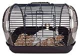 Jaula de pájaros de Hierro Forjado portátil con Caja de Comida Rolling Box Caja de Vuelo Pájaro Jaula de Vuelo con Mango para Viajes a Domicilio-marrón (Size : 41x27x29cm)