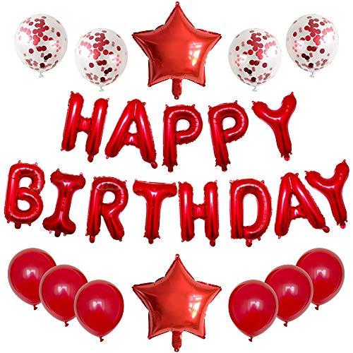 Geburtstagsdeko Mädchen, Rot Konfetti Luftballons, Happy Birthday Ballon in Rot, für Mädchen Frau Jahrestag Wiedervereinigung Fallen Partyzubehör