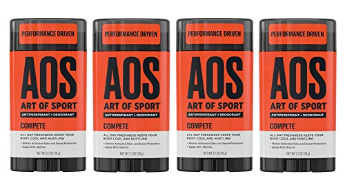 Art of Sport Men's Antiperspirant Deodorant Stick (4-Pack), Compete Scent, Athlete-Ready Formula with Matcha, 2.7 oz