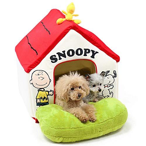 ペットパラダイス スヌーピー 庭付き 赤屋根 ハウス 大(58.5×51.5×H60.5cm) かわいい インテリア 犬のハウス 猫のハウス 庭付き おもちゃ付き 小型犬 多頭飼い998-55270