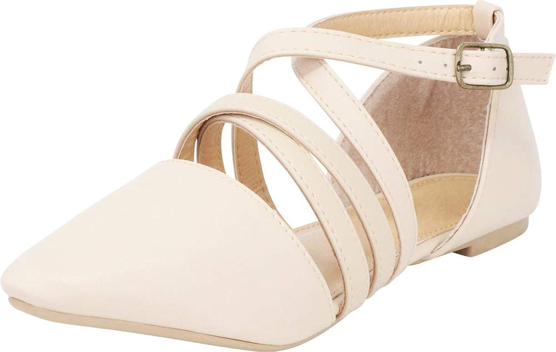 Cambridge Select Women's Pointed Toe D'Orsay Crisscross Strappy Ballet Flat