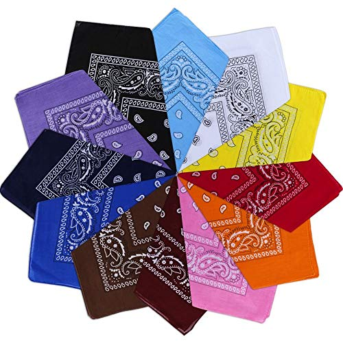 Vivibel Bandana Kopftuch 100% Baumwolle,12er Paisley Bandana Halstuch 55 x 55 cm Kopftuch Armtuch Mischfarben Haar, Hals, Kopf Schal Nickituch Vierecktuch