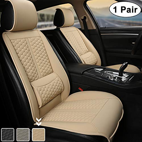 Black Panther Car Seat Covers, 1 Pair Universal Sideless Driver Seat Protectors, with Lumbar Support and Headrest Cover (Beige)