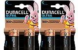 Duracell Ultra, lot de 4 piles alcalines Type C 1,5 Volts LR14 MX1400