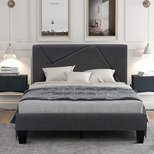 QWEPOI Cama tapizada de 90 x 200 cm con somier de láminas, con espacio de almacenamiento, cama tapizada con cabecero, para dormitorio, adultos y adolescentes, color gris oscuro