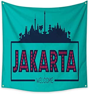 homehot Tapestry Bedding Jakarta Indonesia City Skyline Silhouette Dorm Living Room Bedroom 47W x 47L Inch