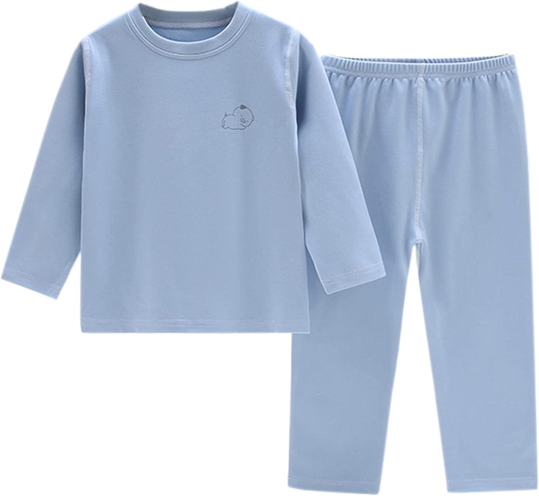 Schbbbta Girls' Boys' Comfy Pull-On Thermal Underwear Pajama Sets, 18 Months - 10 Years