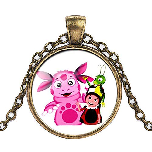 Russian Luntik Cartoon Pendant Art Picture Glass Dome Silver Chain Necklace/Bronze Long Chain Necklace, Gift for Children