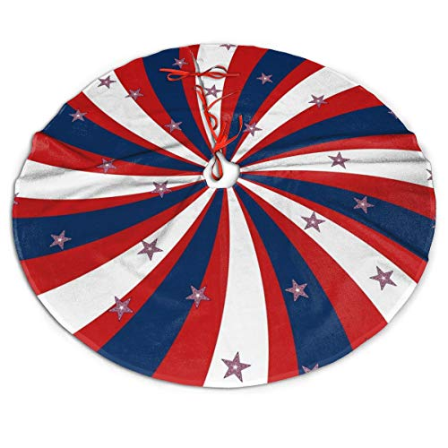 FENTINAYA 48 in Christmas Tree Skirt - Tree Gift Mat For Christmas Decorations, Patriotic Pinwheel Design