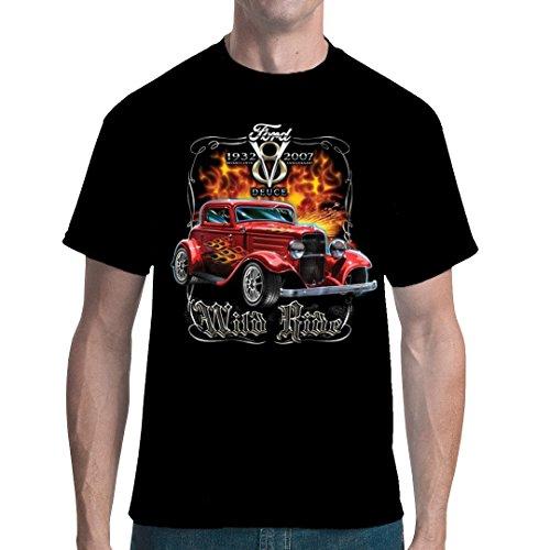 Ford v8 Deuce Wild Ride Classic Vintage Muscle Cars HotRod Mens V-neck T-shirt