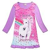 Kinder Mädchen Einhorn Pferd Kleid Nachtwäsche Nachthemd T-Shirt Pyjamas Langarm Tops Kleidung (5-6 Jahre, Langarm Lila)